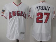 Wholesale Cheap Angels of Anaheim #27 Mike Trout White Fashion Stars & Stripes Flexbase Authentic Stitched MLB Jersey