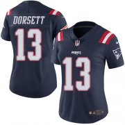 Wholesale Cheap Nike Patriots #13 Phillip Dorsett Navy Blue Women's Stitched NFL Limited Rush Jersey