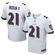 Wholesale Cheap Nike Ravens #21 Mark Ingram II White Men's Stitched NFL New Elite Jersey