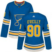 Wholesale Cheap Adidas Blues #90 Ryan O'Reilly Blue Alternate Authentic Women's Stitched NHL Jersey