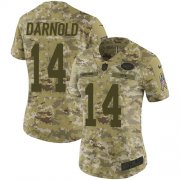 Wholesale Cheap Nike Jets #14 Sam Darnold Camo Women's Stitched NFL Limited 2018 Salute to Service Jersey