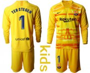 Wholesale Cheap Barcelona #1 Ter Stegen Yellow Goalkeeper Long Sleeves Kid Soccer Club Jersey