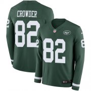 Wholesale Cheap Nike Jets #82 Jamison Crowder Green Team Color Men's Stitched NFL Limited Therma Long Sleeve Jersey