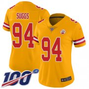 Wholesale Cheap Nike Chiefs #94 Terrell Suggs Gold Women's Stitched NFL Limited Inverted Legend 100th Season Jersey