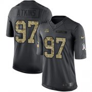 Wholesale Cheap Nike Bengals #97 Geno Atkins Black Youth Stitched NFL Limited 2016 Salute to Service Jersey