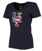 Wholesale Cheap Women's New York Mets USA Flag Fashion T-Shirt Navy Blue