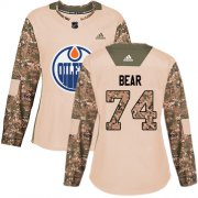 Wholesale Cheap Adidas Oilers #74 Ethan Bear Camo Authentic 2017 Veterans Day Women's Stitched NHL Jersey