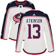 Wholesale Cheap Adidas Blue Jackets #13 Cam Atkinson White Road Authentic Women's Stitched NHL Jersey