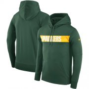 Wholesale Cheap Men's Green Bay Packers Nike Green Sideline Team Performance Pullover Hoodie