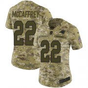 Wholesale Cheap Nike Panthers #22 Christian McCaffrey Camo Women's Stitched NFL Limited 2018 Salute to Service Jersey