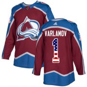 Wholesale Cheap Adidas Avalanche #1 Semyon Varlamov Burgundy Home Authentic USA Flag Stitched Youth NHL Jersey