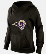 Wholesale Cheap Women's Los Angeles Rams Logo Pullover Hoodie Black-1