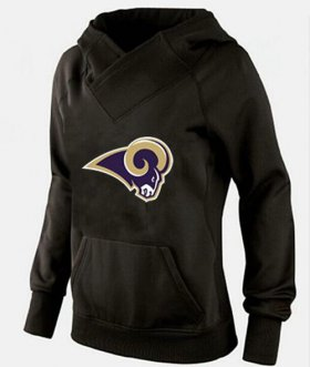 Wholesale Cheap Women\'s Los Angeles Rams Logo Pullover Hoodie Black-1