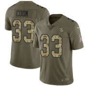 Wholesale Cheap Nike Vikings #33 Dalvin Cook Olive/Camo Youth Stitched NFL Limited 2017 Salute to Service Jersey