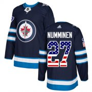 Wholesale Cheap Adidas Jets #27 Teppo Numminen Navy Blue Home Authentic USA Flag Stitched NHL Jersey