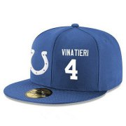 Wholesale Cheap Indianapolis Colts #4 Adam Vinatieri Snapback Cap NFL Player Royal Blue with White Number Stitched Hat