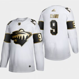 Wholesale Cheap Minnesota Wild #9 Mikko Koivu Men\'s Adidas White Golden Edition Limited Stitched NHL Jersey
