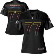 Wholesale Cheap Nike Raiders #77 Trent Brown Black Women's NFL Fashion Game Jersey