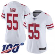 Wholesale Cheap Nike 49ers #55 Dee Ford White Women's Stitched NFL 100th Season Vapor Limited Jersey