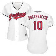 Wholesale Cheap Indians #10 Edwin Encarnacion White Home Women's Stitched MLB Jersey