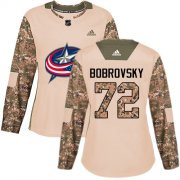 Wholesale Cheap Adidas Blue Jackets #72 Sergei Bobrovsky Camo Authentic 2017 Veterans Day Women's Stitched NHL Jersey