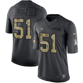 Wholesale Cheap Nike Saints #51 Cesar Ruiz Black Youth Stitched NFL Limited 2016 Salute to Service Jersey