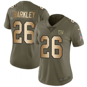 Wholesale Cheap Nike Giants #26 Saquon Barkley Olive/Gold Women\'s Stitched NFL Limited 2017 Salute to Service Jersey