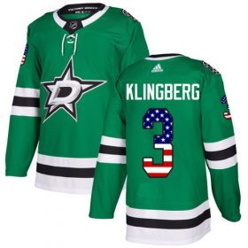 Wholesale Cheap Adidas Stars #3 John Klingberg Green Home Authentic USA Flag Stitched NHL Jersey