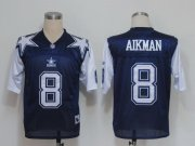 Wholesale Cheap Mitchell & Ness Cowboys #8 Troy Aikma Deion Sanders Blue/White Stitched Throwback NFL Jersey