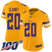 Wholesale Cheap Nike Vikings #20 Jeff Gladney Gold Women's Stitched NFL Limited Inverted Legend 100th Season Jersey