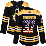 Wholesale Cheap Adidas Bruins #37 Patrice Bergeron Black Home Authentic USA Flag Women's Stitched NHL Jersey