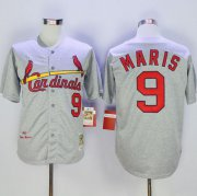 Wholesale Mitchell And Ness 1967 Cardinals #9 Roger Maris Grey Throwback Stitched Baseball Jersey