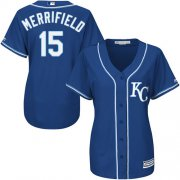 Wholesale Cheap Royals #15 Whit Merrifield Royal Blue Alternate Women's Stitched MLB Jersey