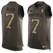 Wholesale Cheap Nike Panthers #7 Kyle Allen Green Men's Stitched NFL Limited Salute To Service Tank Top Jersey