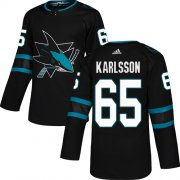 Wholesale Cheap Adidas Sharks #65 Erik Karlsson Black Alternate Authentic Stitched Youth NHL Jersey