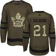 Wholesale Cheap Adidas Maple Leafs #21 Borje Salming Green Salute to Service Stitched NHL Jersey