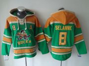 Wholesale Cheap Ducks #8 Teemu Selanne Green Sawyer Hooded Sweatshirt Stitched NHL Jersey