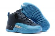Wholesale Cheap Air Jordan 12 Retro Kids Shoes Dark Blue/Unc Blue