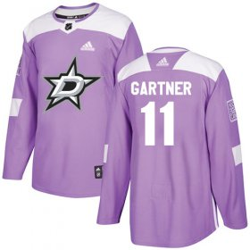 Wholesale Cheap Adidas Stars #11 Mike Gartner Purple Authentic Fights Cancer Stitched NHL Jersey