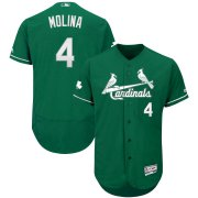Wholesale Cheap St. Louis Cardinals #4 Yadier Molina Majestic St. Patrick's Day Flex Base Authentic Collection Celtic Player Jersey Green
