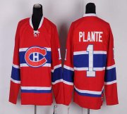 Wholesale Cheap Canadiens #1 Jacques Plante Red CH CCM Throwback Stitched NHL Jersey