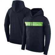 Wholesale Cheap Men's Seattle Seahawks Nike College Navy Sideline Team Performance Pullover Hoodie