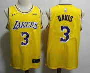 Wholesale Cheap Men's Los Angeles Lakers #3 Anthony Davis 2019 Yellow Nike Swingman Wish Stitched NBA Jersey