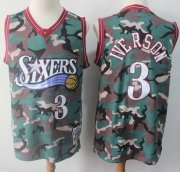 Wholesale Cheap 76ers #3 Allen Iverson Camo Stitched Basketball Swingman Jersey