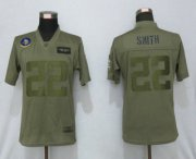 Wholesale Cheap Women's Minnesota Vikings #22 Harrison Smith NEW Olive 2019 Salute To Service Stitched NFL Nike Limited Jersey