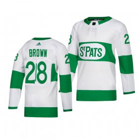 Wholesale Cheap Maple Leafs #28 Connor Brown adidas White 2019 St. Patrick\'s Day Authentic Player Stitched NHL Jersey