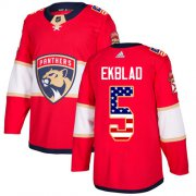 Wholesale Cheap Adidas Panthers #5 Aaron Ekblad Red Home Authentic USA Flag Stitched Youth NHL Jersey