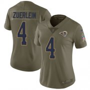 Wholesale Cheap Nike Rams #4 Greg Zuerlein Olive Women's Stitched NFL Limited 2017 Salute to Service Jersey