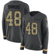 Wholesale Cheap Nike Cardinals #48 Isaiah Simmons Anthracite Salute to Service Women's Stitched NFL Limited Therma Long Sleeve Jersey