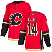 Wholesale Cheap Adidas Flames #14 Theoren Fleury Red Home Authentic Stitched NHL Jersey